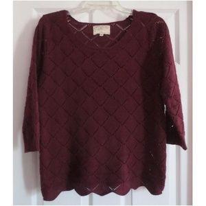 Debbie Morgan Wine Colored Pullover Sweater